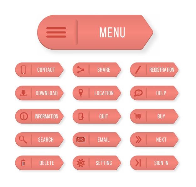 Farbige rechteckige web-buttons kontaktieren sie uns. gestaltungselemente für website oder app.