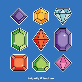 Farbige reihe von dekorativen edelsteinen