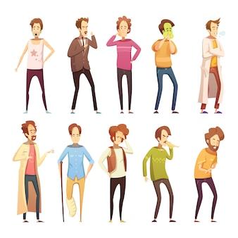 Farbige retro- karikaturikone des krankheitsmannes eingestellt mit verschiedenen arten und altersleute vector illustratio