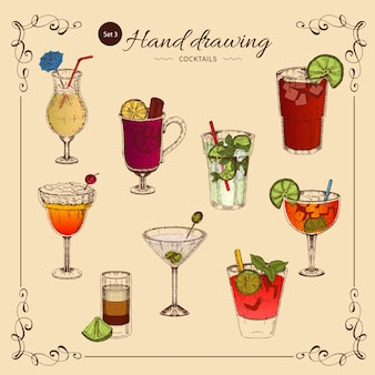 Farbige sammlung alkoholischer getränke