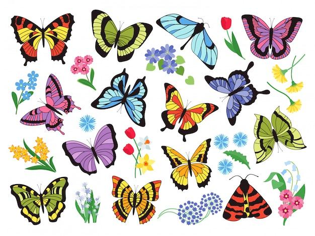 Farbige schmetterlinge. hand gezeichnete einfache sammlung von schmetterlingen und blumen lokalisiert auf weißem hintergrund. grafische sammlung gezeichnetes vintage fliegendes insekt