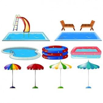 Farbige schwimmbäder sammlung
