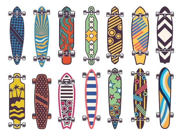 Farbige skateboards gesetzt