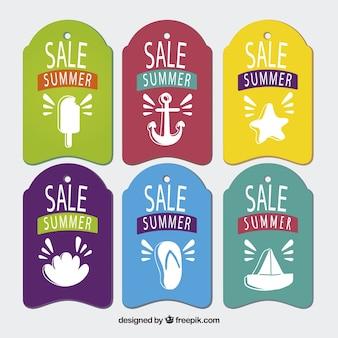 Farbige sommerverkaufsmarken mit schönen zeichnungen