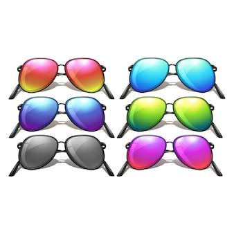 Farbige sonnenbrillen-kollektion