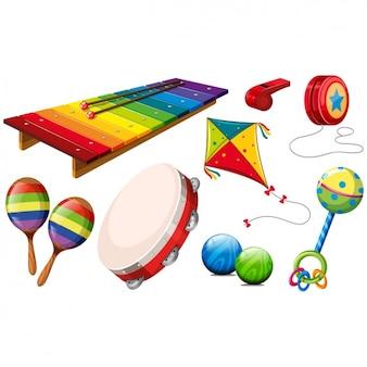 Farbige spielzeug sammlung