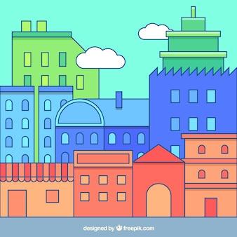 Farbige stadt hintergrund in linearen stil