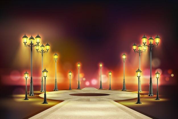 Farbige straßenlaternen realistische zusammensetzung ruhige nachtstraße mit gelber retro-lichtillustration