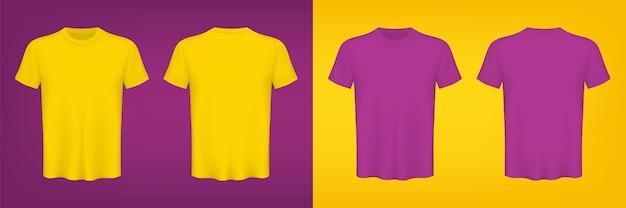 Farbige t-shirts leer für grafikdesignschablone