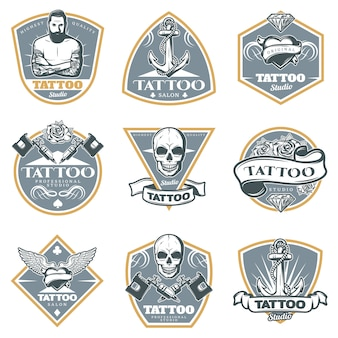 Farbige tattoo studio labels set