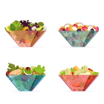 Farbige transparente schalen mit früchten