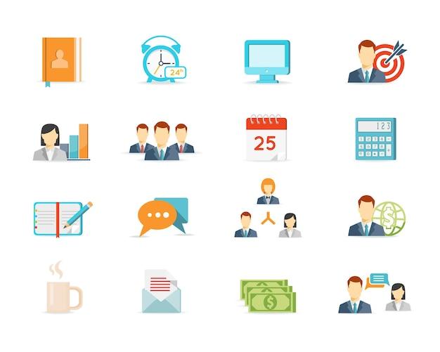 Farbige trendige büroarbeit und managementelemente