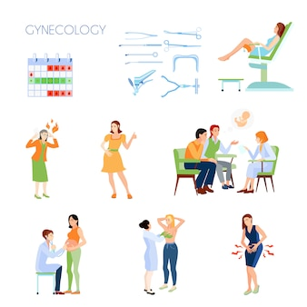 Farbige und lokalisierte flache ikone der gynäkologie stellte mit instrumentattributen familienplanung mit einem doktor ein