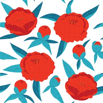 Farbige vektor nahtlose muster. rote blumen mit blauen blättern auf weißem hintergrund. handgezeichnete pfingstrosen. blumenornament für textil