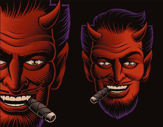 Farbige vektorillustration eines teufelsgesichtes, das eine zigarre auf dunkelheit raucht