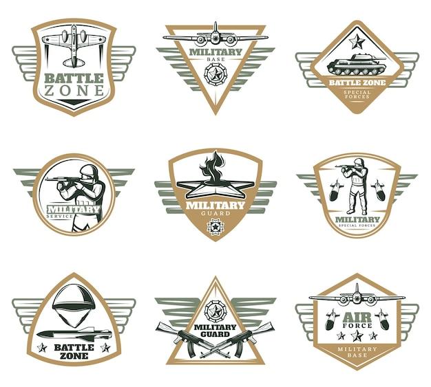 Farbige vintage militär embleme set