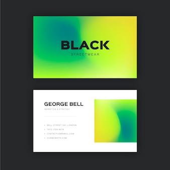 Farbige visitenkartenschablone mit farbverlauf
