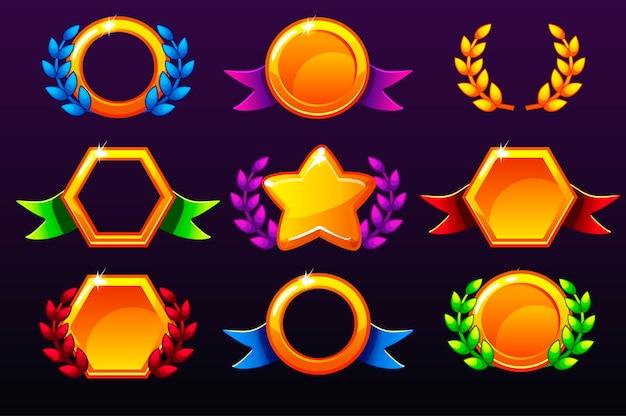 Farbige vorlagen für auszeichnungen, die symbole für handyspiele erstellen. auf getrennten schichten isoliert.