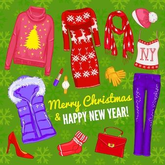 Farbige weihnachtliche modische kleidungszusammensetzung mit weihnachtsikonen-satz