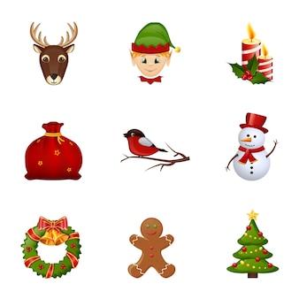 Farbige weihnachts- und neujahrsgestaltungselemente lokalisiert auf weißem hintergrund.