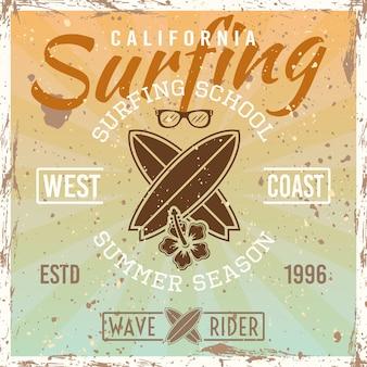 Farbige weinleseplakatillustration der surfschule auf hellem hintergrund