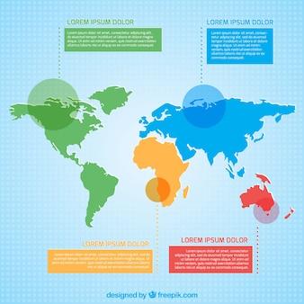 Farbige weltkarte infografik