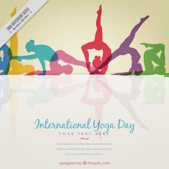 Farbige yoga silhouetten hintergrund