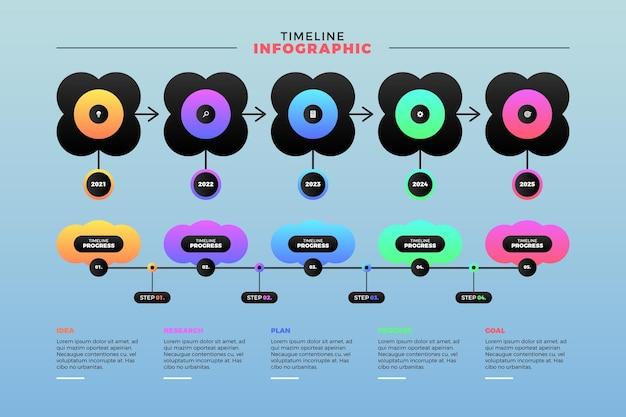 Farbige zeitachse-infografik mit farbverlauf