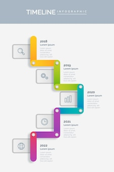 Farbige zeitleisten-infografik-vorlage mit farbverlauf