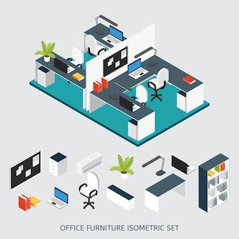 Farbige zusammensetzung des isometrischen innenbüroarbeitsplatzes mit renoviertem büro