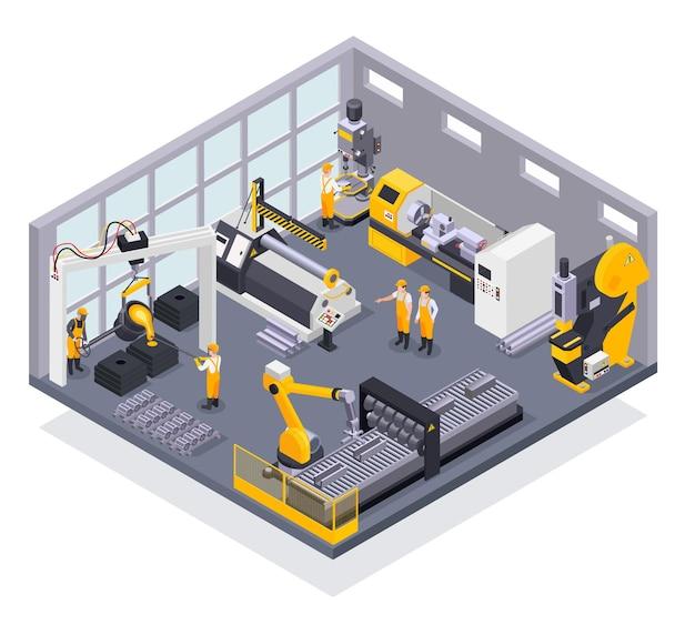 Farbige zusammensetzung mit werksarbeitern der metallindustrie und maschinen 3d isometrisch