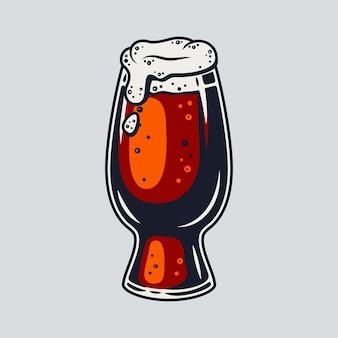Farbiger bierkrug mit schaum-retro-bar und pub-menü. trinkgläser für das bayerische oktoberfest