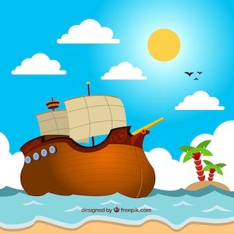 Farbiger hintergrund mit piratenschiff