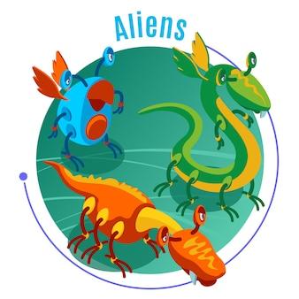 Farbiger isometrischer alienshintergrund mit blauer überschrift und drei verschiedenen monsterillustrationen