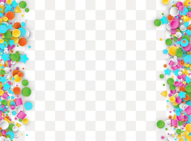 Farbiger karneval-konfetti-hintergrund aus geometrischen stern-, quadrat-, dreieck- und kreisformen.