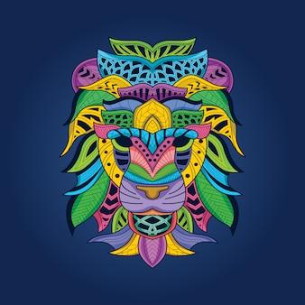 Farbiger löwenkopf