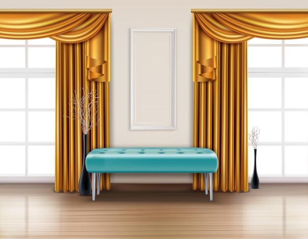 Farbiger luxusvorhang realistisches interieur mit goldenem vorhang und blauer weicher bankillustration
