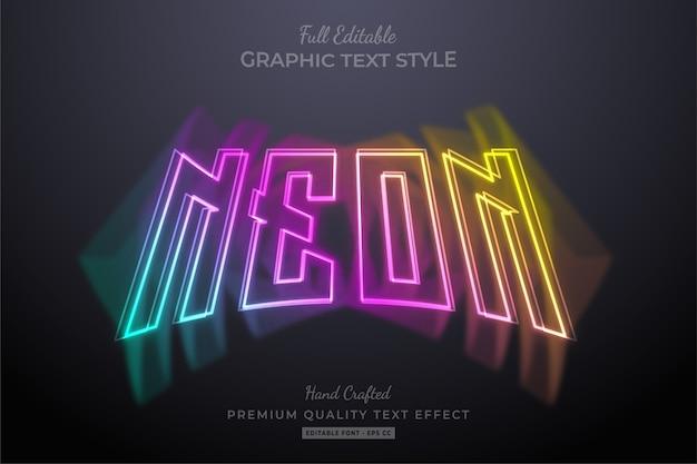 Farbiger neon bearbeitbarer texteffekt mit farbverlauf