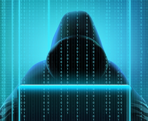Farbiger realistischer aufbau des hackercodes mit person schafft codes für das zerhacken und diebstahl von informationsvektorillustration