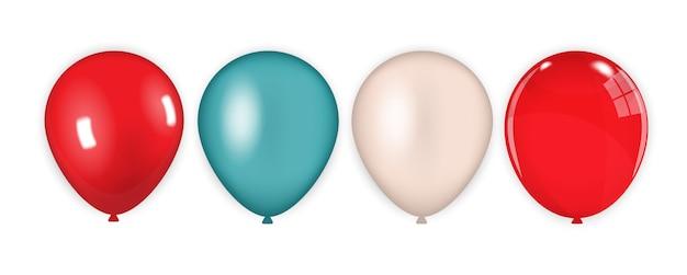 Farbiger satz von roten, blauen, rosa luftballons isoliert