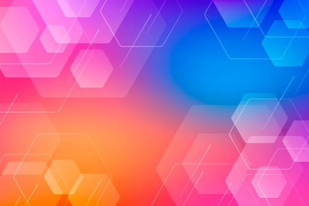 Farbiger sechseckiger hintergrund mit farbverlauf