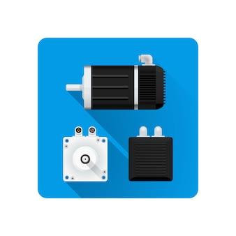 Farbiger servo-elektromotor verschiedene winkel illustrationssymbol langer schatten gerundeter quadratischer hintergrund