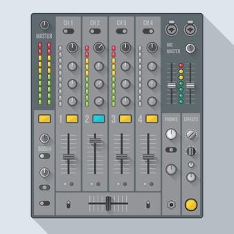 Farbiger sound-dj-mixer mit reglern und schiebereglern, die schatten werfen
