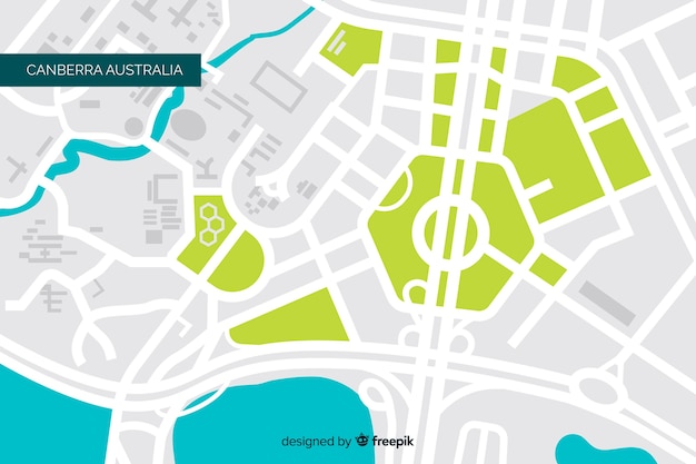 Farbiger stadtplan mit fluss und park