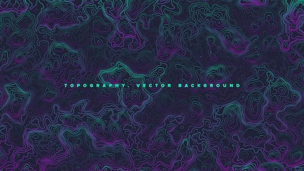 Farbiger topografischer höhenlinien-karten-vaporwave-zusammenfassungs-hintergrund