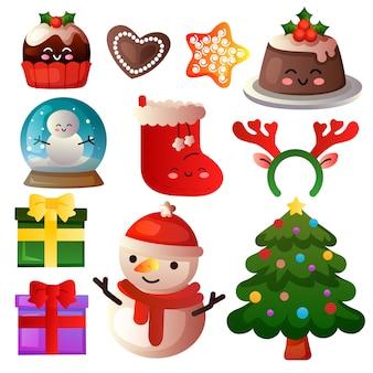 Farbiger weihnachtselement-ikonensatz