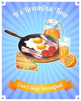 Farbiges frühstücksplakat mit titel es ist frühstückszeit, überspringen sie nicht das frühstück