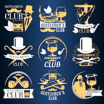 Farbiges gentlemen club label set