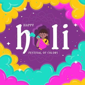 Farbiges handgezeichnetes holi-festival