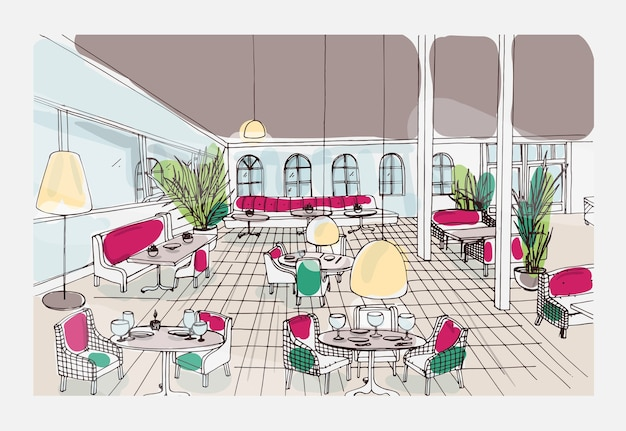 Farbiges handgezeichnetes restaurant- oder café-interieur mit kariertem boden und stilvollen möbeln